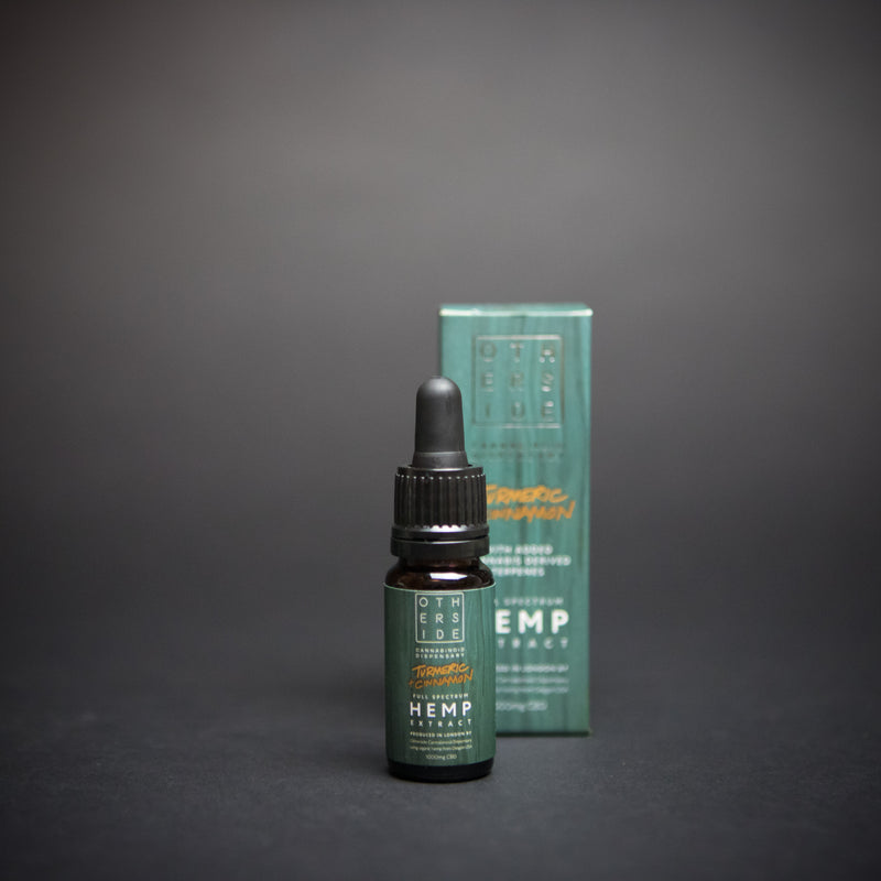 - Otherside - <br> Premium Blend CBD Oil <br> Turmeric & Cinnamon <br> Full Spectrum Hemp Extract <br> 1000mg (10%) - Otherside