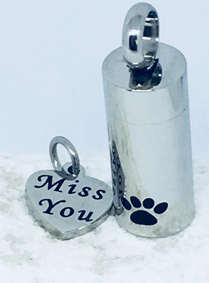 'Miss You' Paw Print Tube with Heart