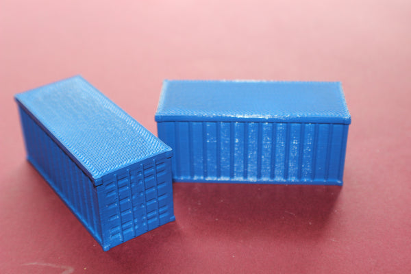 1-87TH HO SCALE 3D PRINTED 20 FOOT SHIPPING CONTAINERS, 2 PIECES