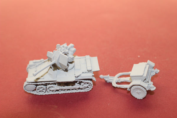 1-87TH SCALE 3D PRINTED WW II GERMAN FLAKPANZER I UNPACKED WITH TRAILER