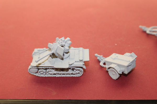 1-72ND SCALE 3D PRINTED WW II GERMAN FLAKPANZER I UNPACKED WITH TRAILER
