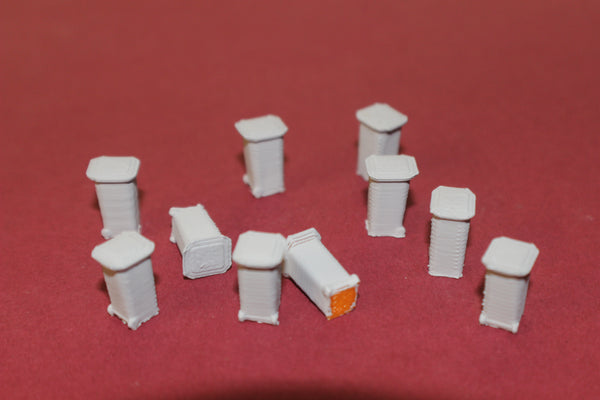1-160TH N SCALE 3D PRINTED WHEELED GARBAGE CANS 10 PIECES