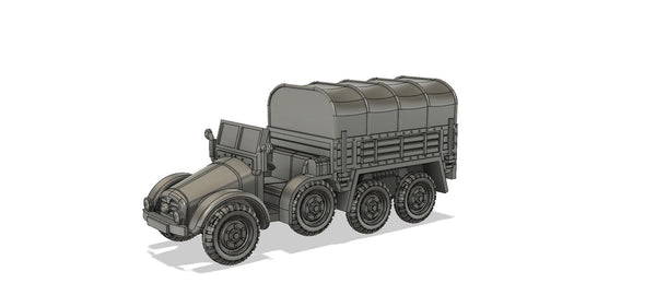 1-87TH SCALE 3D PRINTED WWII GERMAN KRUPP-PROTZE SDKRZ 70 SIX-WHEELED 6X4 TRUCK AND ARTILLERY TRACTOR CLOSED