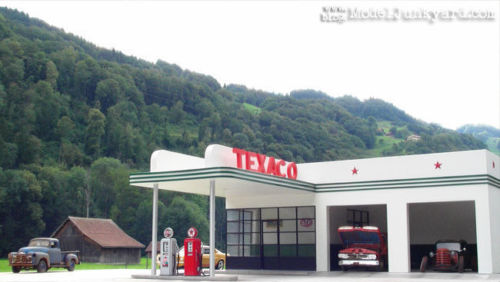 1/160TH N SCALE  3D PRINTED KIT 1950'S GAS TEXACO GAS STATION