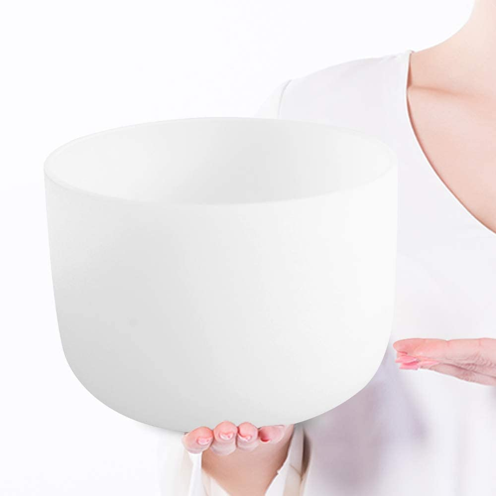 "12"" Note Chakra Frosted Quartz Crystal Singing Bowl"
