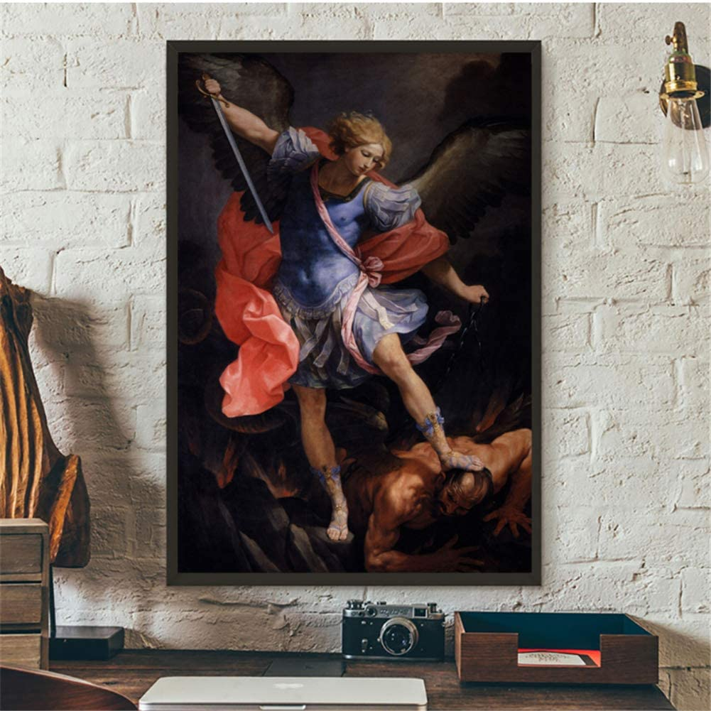 The Archangel Michael Defeating Satan in Canvas or Acrylic