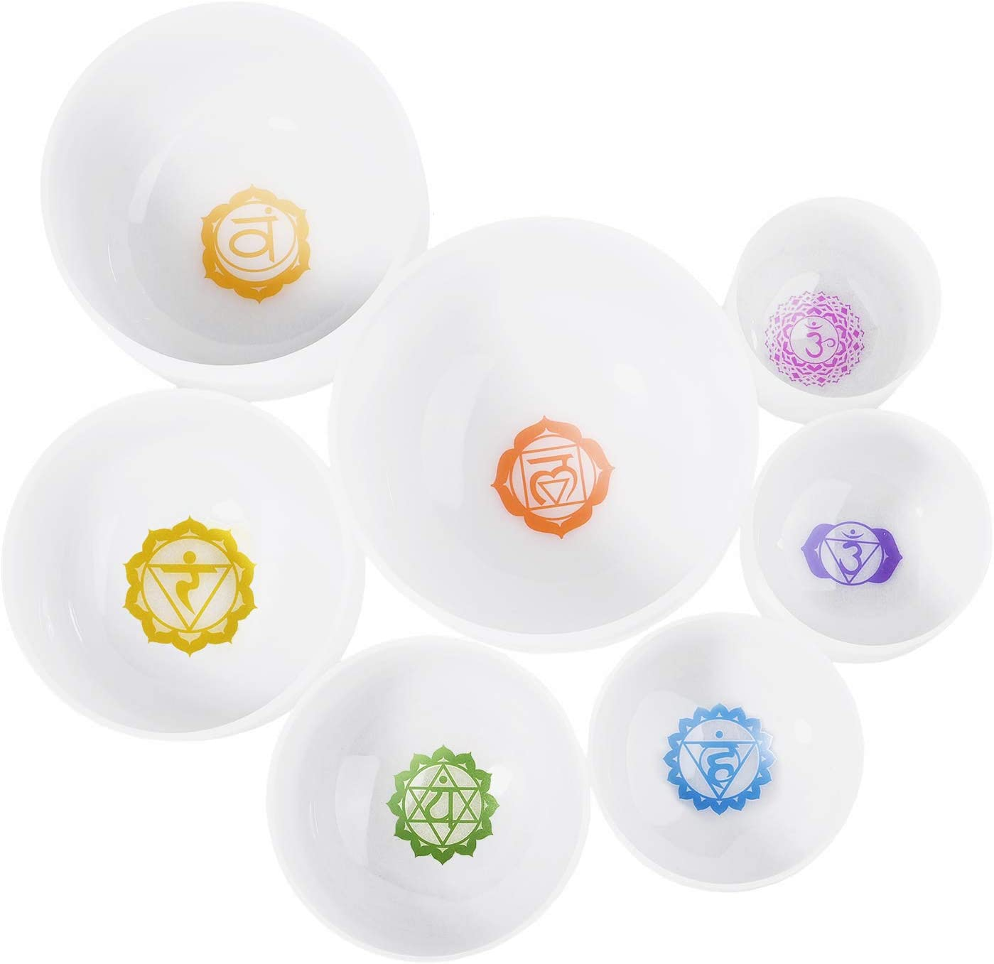 "6""-12"" set of  7PCS Note Chakra  Frosted Quartz Crystal Singing Bowls"