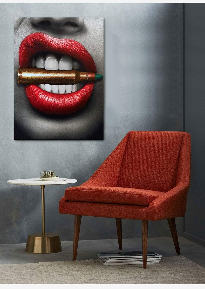 Sexy Dangerous Lips Printed in Canvas-Framed