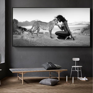 Leopard and Nude Women in Canvas