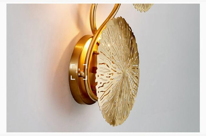 Gold Lotus Leaf Wall Lamp