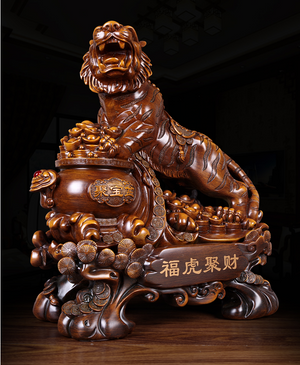 Chinese Style Lucky Tiger Animal Resin Statue