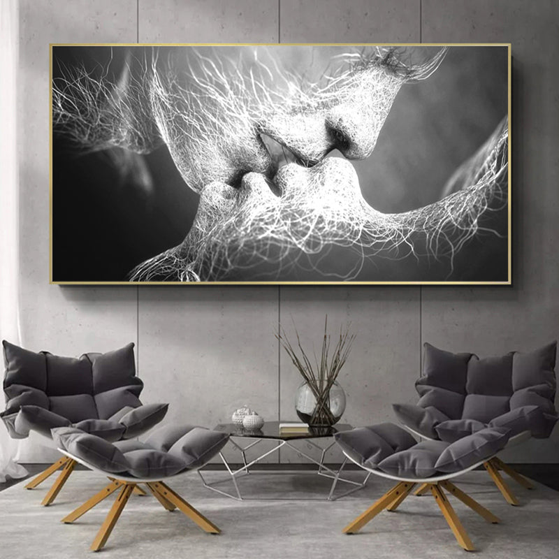 Abstract Love Couple Kissing in Canvas-Framed