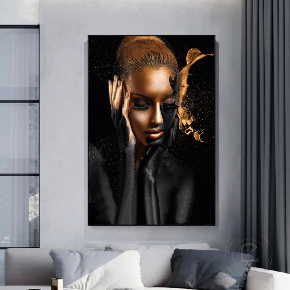 Gold African Woman on Canvas