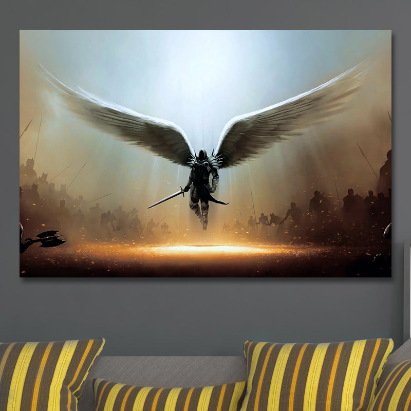 Angel Michael In Canvas Art-Framed
