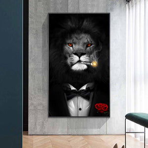Wild Lion in a Suit in Canvas