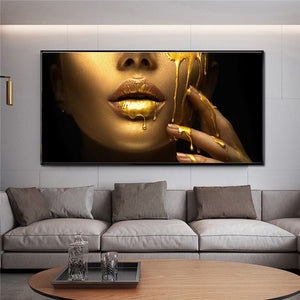 African Woman Face With Golden Sexy Lips In Canvas Print