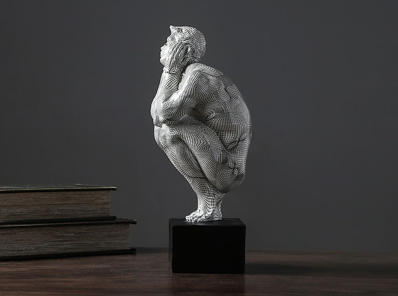 Creative Squatting Thinking Man Statue Art