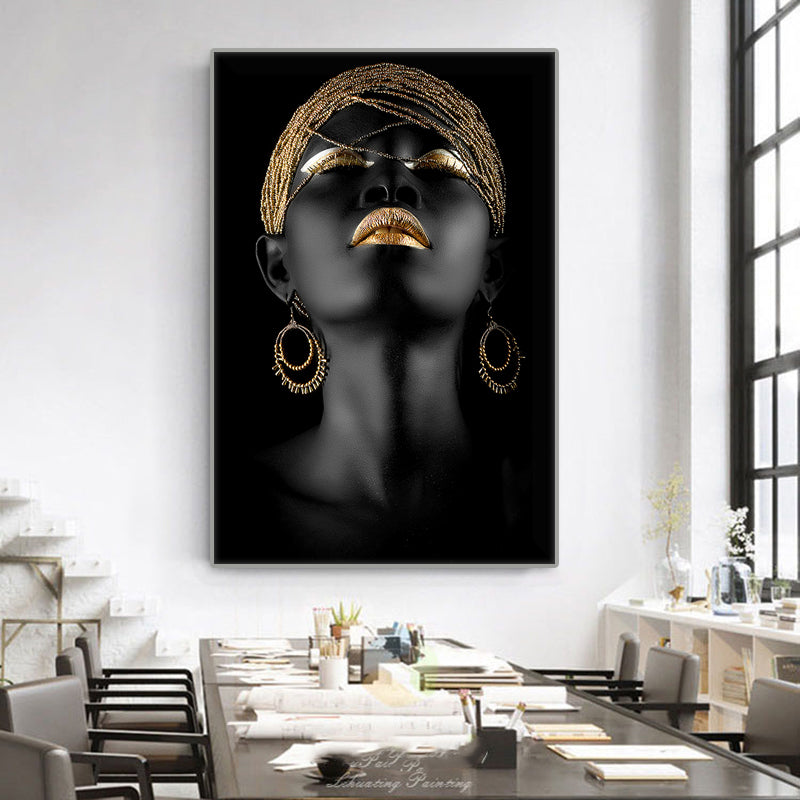 Golden African Woman Print on Canvas.
