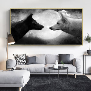Black and White Wolf on Canvas Art