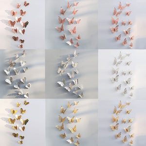 12pcs/set Hollow 3D Butterfly Wall Sticker