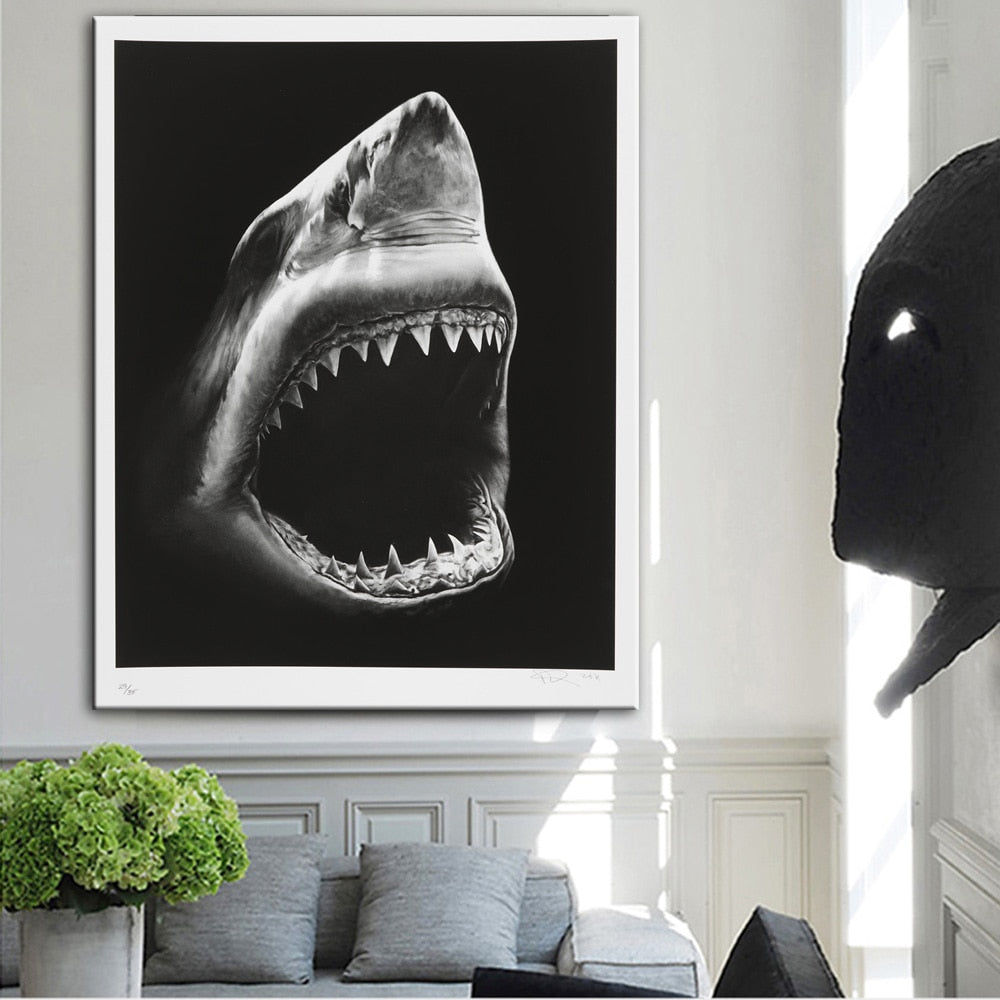 Great Shark- Black and White Picture in Canvas