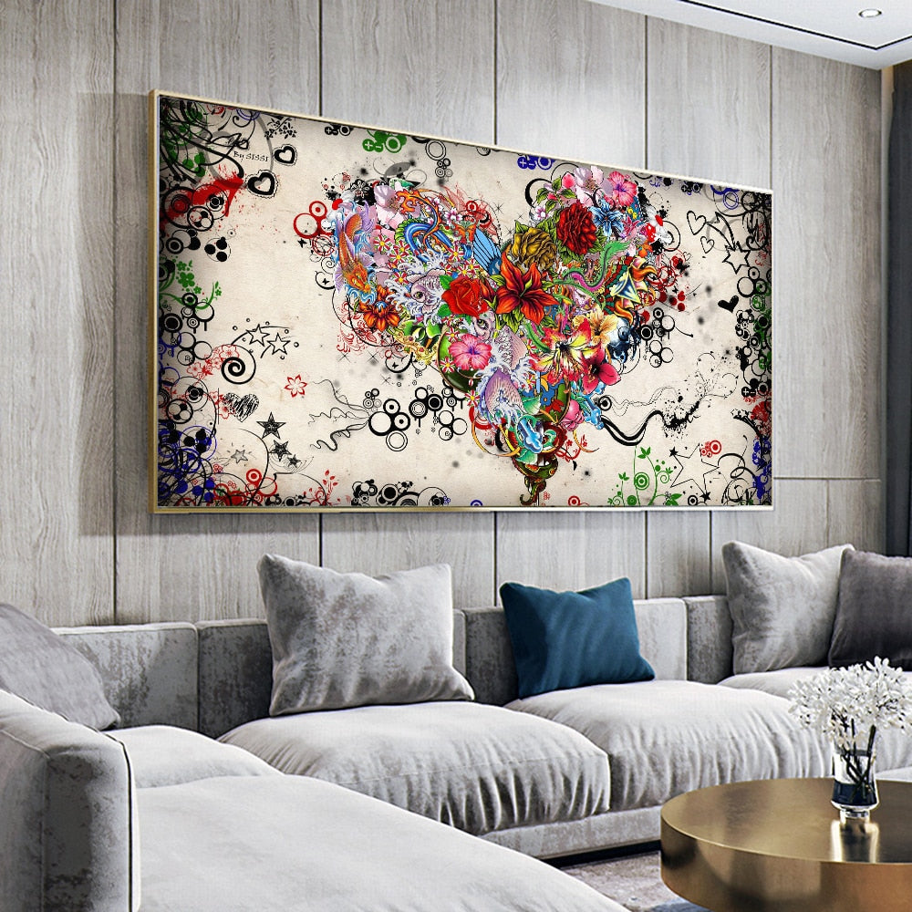Abstract Colorful Heart with Flowers Posters