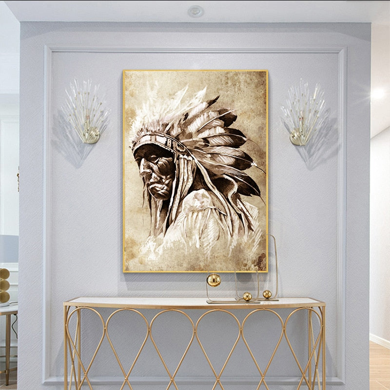 American Native Indian Portrait picture in Canvas