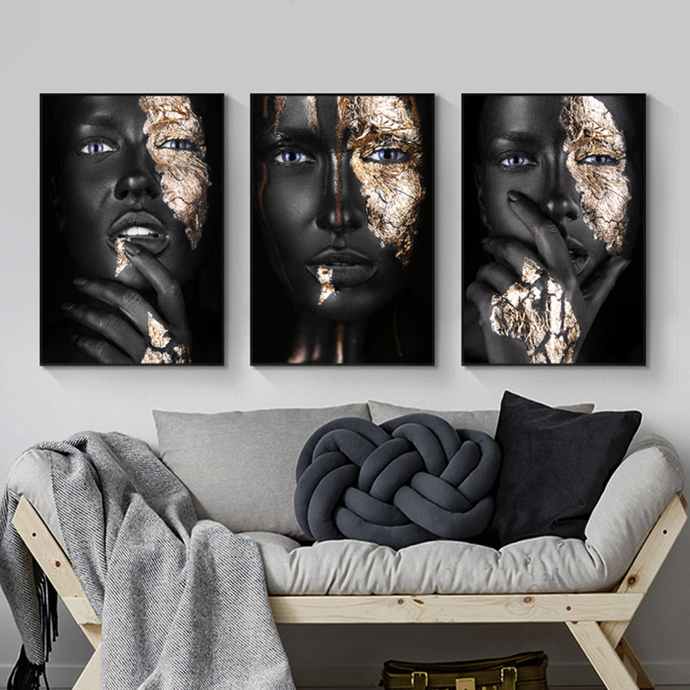 Gold and Black Model Print on Canvas