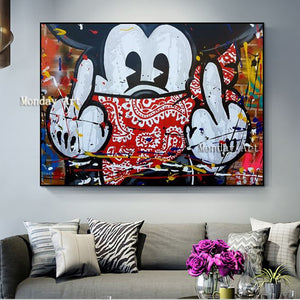 Mickey Graffiti Art Poster in Canvas-Framed