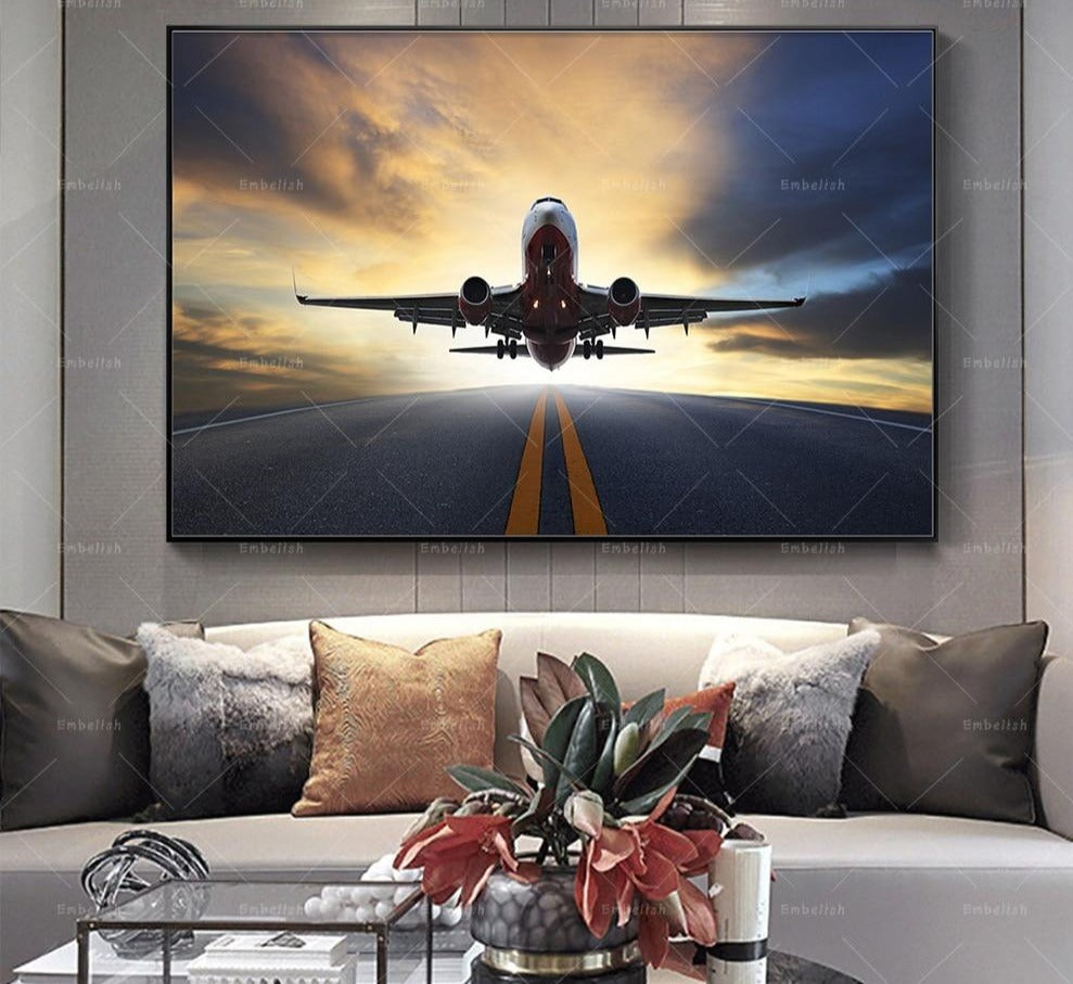 1 Piece Sunset Airplane Landscape in Canvas