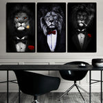 Black Wild Lion in a Suit in Canvas Posters
