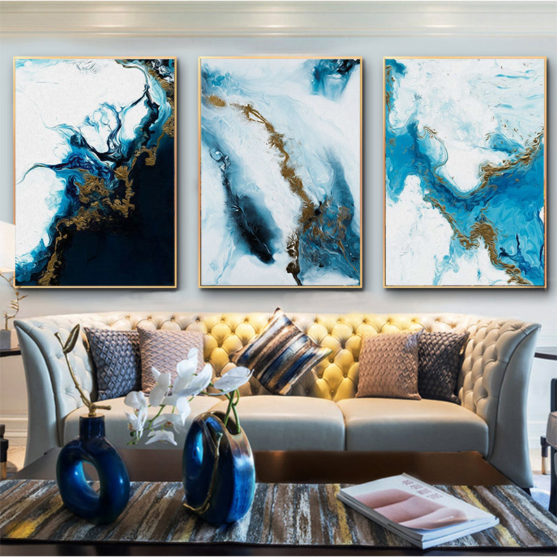 Ocean Blue Abstract Wall Art Picture in Canvas-Framed