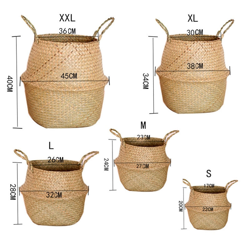 Basket Rattan Hanging Flower Pot Multiuse