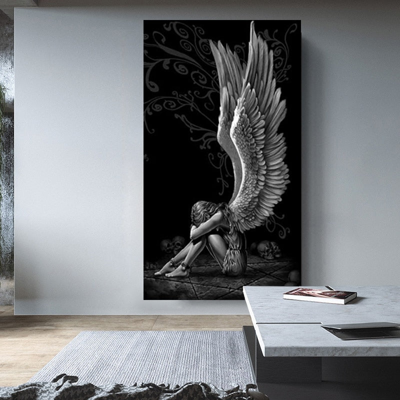 The Crying Angel Art in Canvas