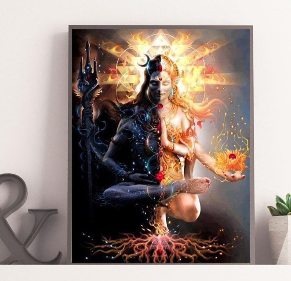 Shiva Dark And Light Art in Canvas Prints