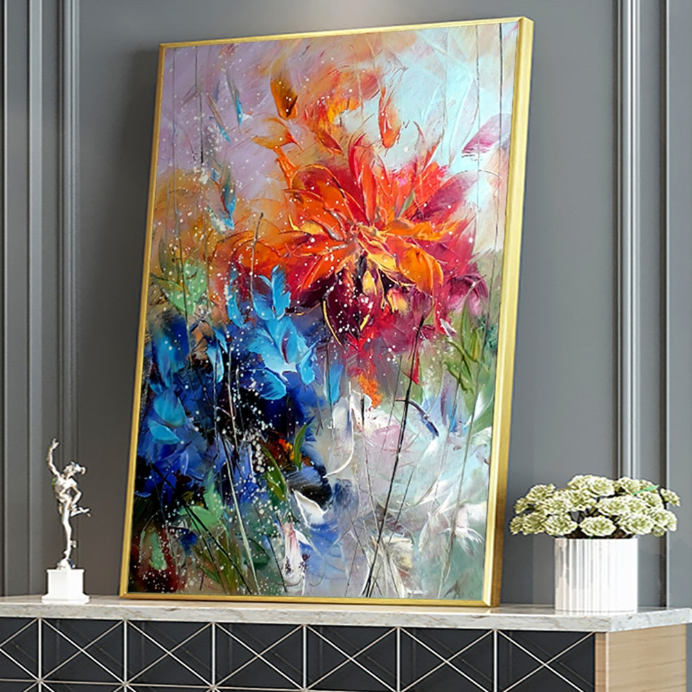 Abstract Blue Orange Flower On Canvas Poster
