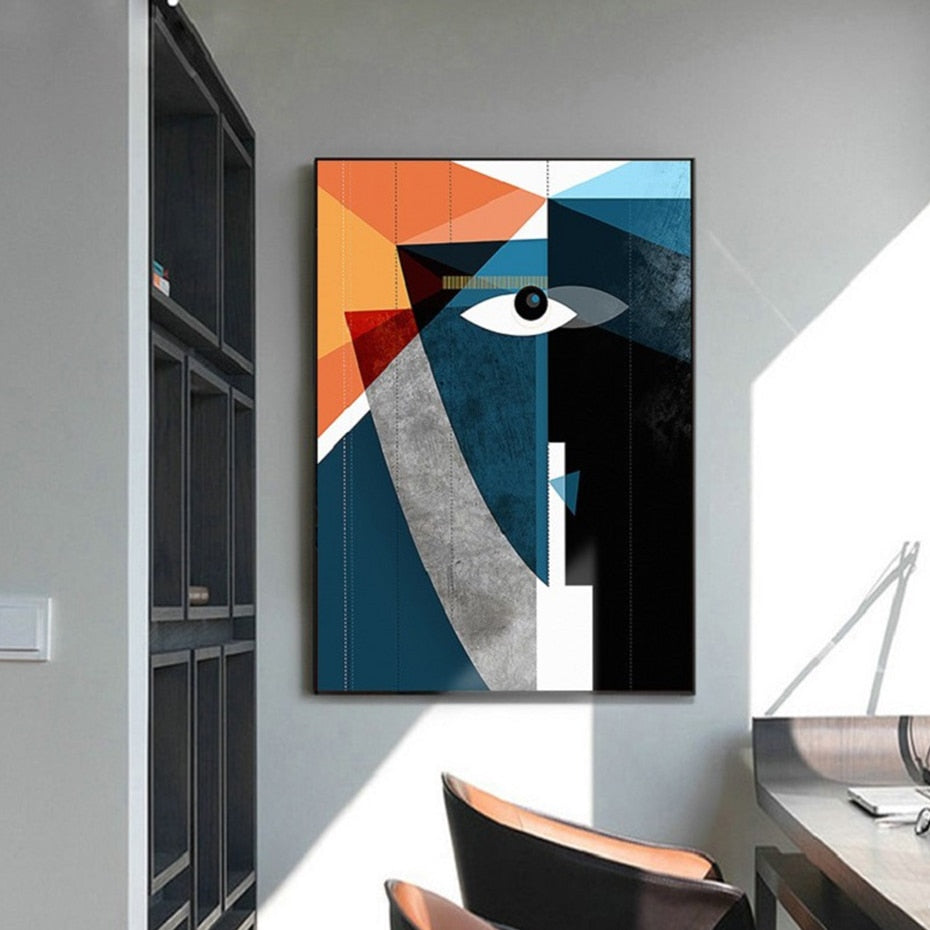 Modern Nordic Abstract Geometric Figure Face
