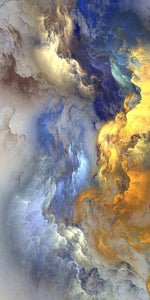 Abstract Golden And Blue Cloud Canvas Poster