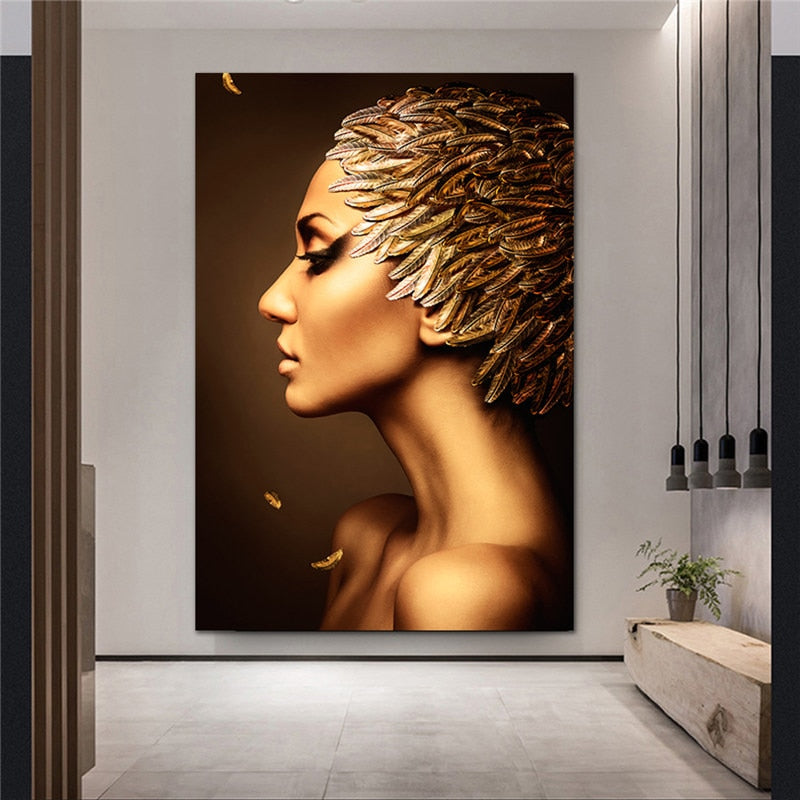 Gold Feather Girl Posters in Canvas
