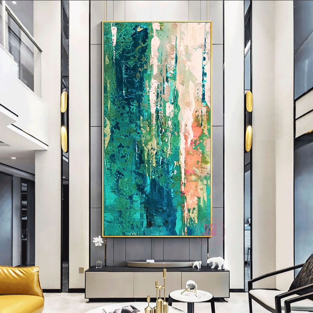 Green multicolored Handmade Painting
