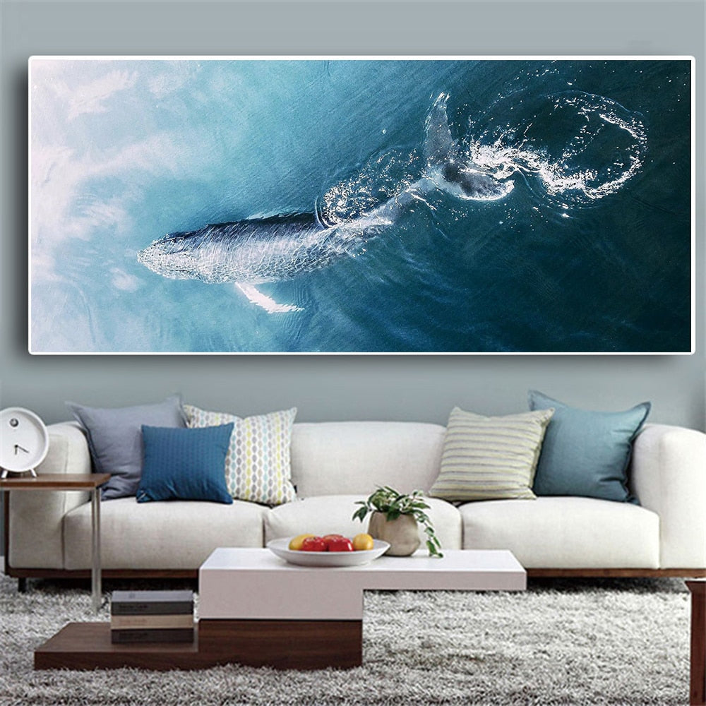 Whale on Canvas Wall Art Picture