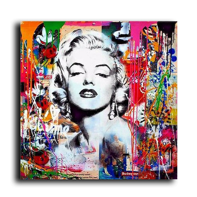 Abstract Marilyn Monroe Graffiti Oil Painted