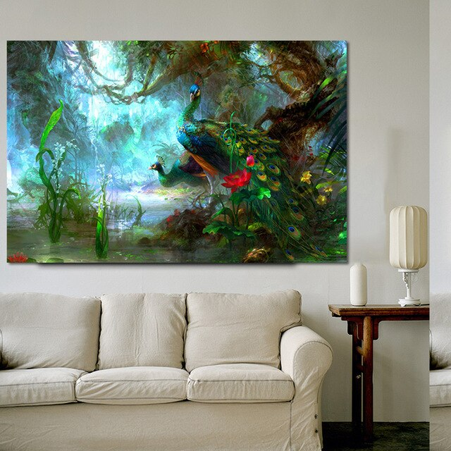 Peacock Tree Art in Canvas Print