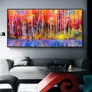 Abstract Landscape Trees Art In Canvas