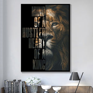 Wild Lion Letter Motivational Quote in Canvas