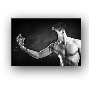 Naked man face to face sculpture muscles on canvas mural posters