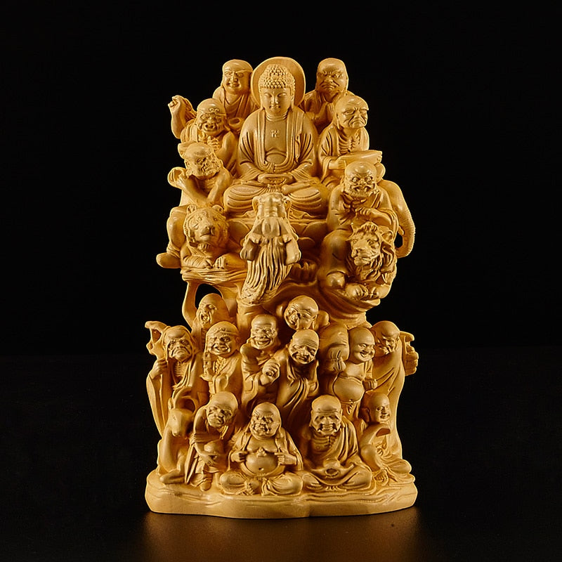 16cm Eighteen Wood Handmade Buddha Sculpture