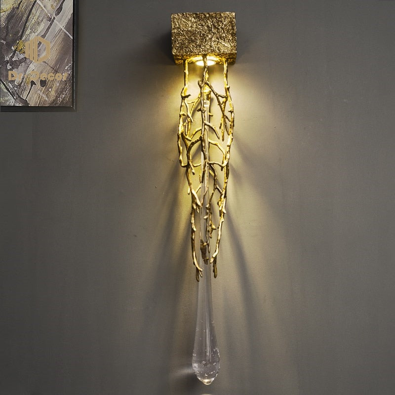 Modern Golden LED Crystal Wall Lamp