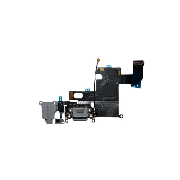 For iPhone 6 Charging Port with Flex Cable & Mic & Antenna Wire & Earphone Jack - Black
