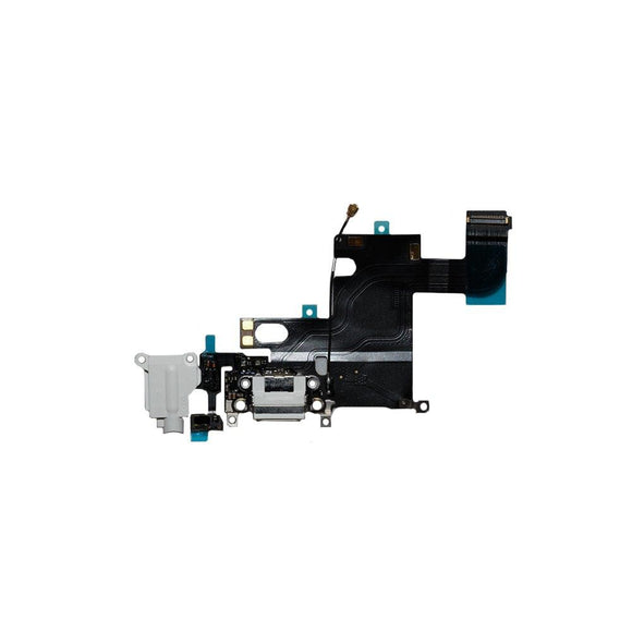 For iPhone 6 Charging Port with Flex Cable & Mic & Antenna Wire & Earphone Jack - White